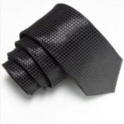 Černá úzká slim kravata se vzorem šachovnice