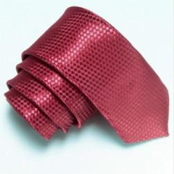 Vínová úzká slim kravata se vzorem šachovnice