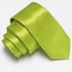 Světle zelená úzká slim kravata se vzorem šachovnice