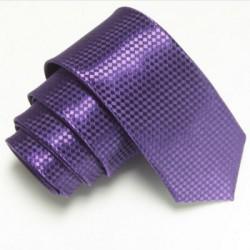 Tmavě fialová úzká slim kravata se vzorem šachovnice