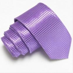 Fialová úzká slim kravata se vzorem šachovnice