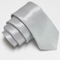 Stříbrná úzká slim kravata se vzorem šachovnice