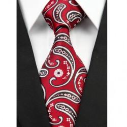 Hedvábná kravata červená kašmírová NT0213