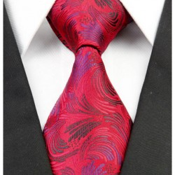 Hedvábná kravata červená kašmírová NT0252