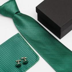 Dárková sada zelená kravata, kapesníček a manžetové knoflíčky SNT0097