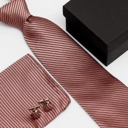 Dárková sada růžová kravata, kapesníček a manžetové knoflíčky SNT0100