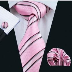 Dárkové balení růžová kravata, kapesníček a manžetové knoflíčky