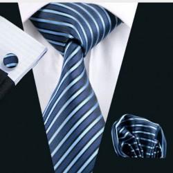 Dárkové balení modrá kravata, kapesníček a manžetové knoflíčky