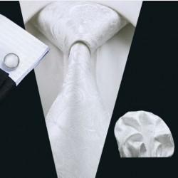 Dárkové balení bílá kravata, kapesníček a manžetové knoflíčky