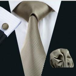 Dárková sada béžová kravata, kapesníček a manžetové knoflíčky