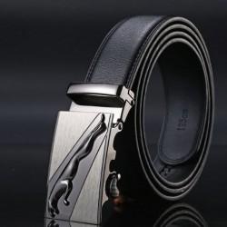Pánský kožený opasek černý s automatickou přezkou