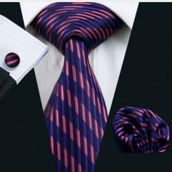 Dárkové balení černá kravata, kapesníček a manžetové knoflíčky