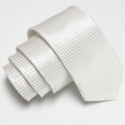Biela úzka slim kravata so vzorom šachovnice