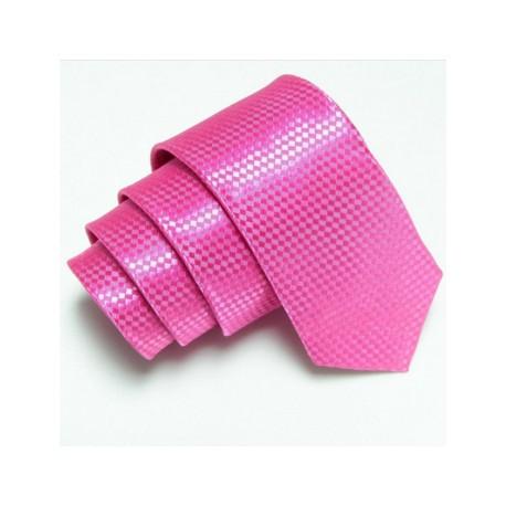 Růžová úzká slim kravata se vzorem šachovnice