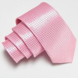 Svetlo ružová úzka slim kravata so vzorom šachovnice