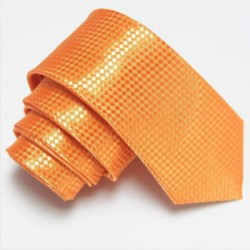Oranžová úzká slim kravata se vzorem šachovnice