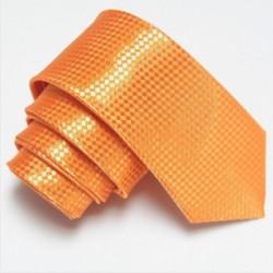 Oranžová úzka slim kravata so vzorom šachovnice