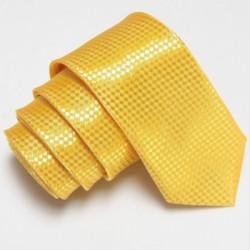 Žltá úzka slim kravata so vzorom šachovnice
