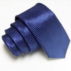 Tmavo modrá úzka slim kravata so vzorom šachovnice