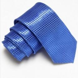 Modrá úzka slim kravata so vzorom šachovnice