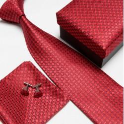 Darčekový set červená kravata, vreckovka a manžetové gombíky