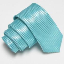 Tyrkysová úzká slim kravata se vzorem šachovnice