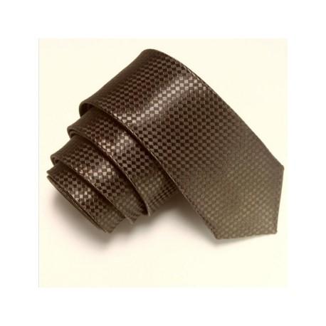 Tmavě hnědá úzká slim kravata se vzorem šachovnice