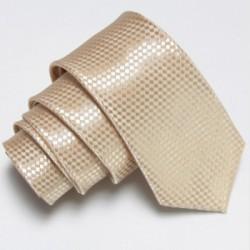 Béžová úzká slim kravata se vzorem šachovnice