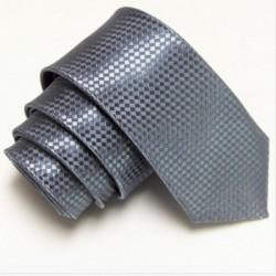 Grafitová úzká slim kravata se vzorem šachovnice