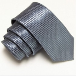Grafitová úzka slim kravata so vzorom šachovnice