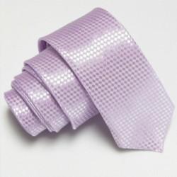 Světle fialová úzká slim kravata se vzorem šachovnice