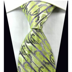 Hedvábná kravata kašmírová zelená NT0334