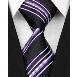 Hedvábná kravata černá pruhovaná NT0088