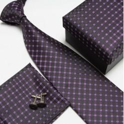 Darčekové balenia čierna kravata, vreckovka a manžetové gombíky