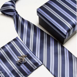 Darčekové balenia modrá kravata, vreckovka a manžetové gombíky