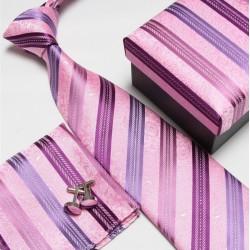 Darčekové sety ružová kravata, vreckovka a manžetové gombíky