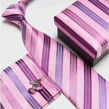 Dárkové sety růžová kravata, kapesníček a manžetové knoflíčky