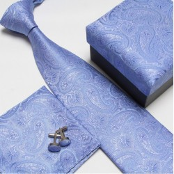 Dárkové sety modrá kravata, kapesníček a manžetové knoflíčky