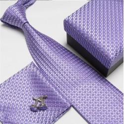 Darčekové sety fialová kravata, vreckovka a manžetové gombíky