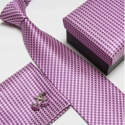 Darčekový box ružová kravata, vreckovka a manžetové gombíky