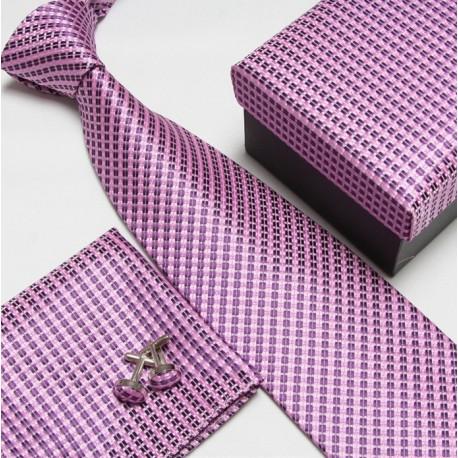 Dárkový box růžová kravata, kapesníček a manžetové knoflíčky