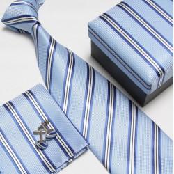 Darčekový box modrá kravata, vreckovka a manžetové gombíky