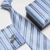 Dárkový box modrá kravata, kapesníček a manžetové knoflíčky