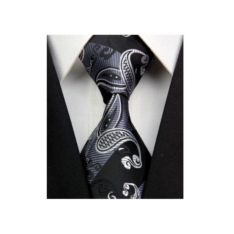 8c8c8b7ff26 Kašmírová hedvábná kravata černá NT0395 - Wemay