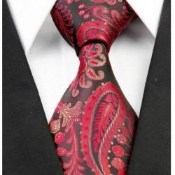 Hedvábná kravata červená kašmírová NT0210