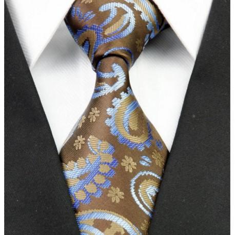 090629a0fd1 Hedvábná kravata hnědá NT0235 - Wemay