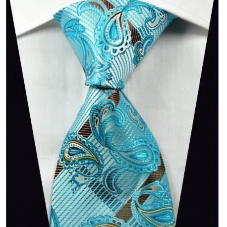 Hedvábná kravata kašmírová modrá NT0363