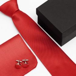 Dárková sada červená kravata, kapesníček a manžetové knoflíčky SNT0002