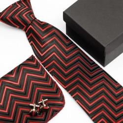 Dárková sada černá kravata, kapesníček a manžetové knoflíčky SNT0007
