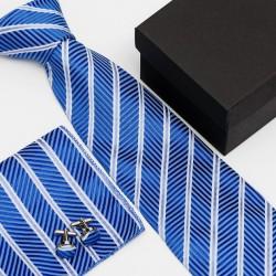 Dárková sada modrá kravata, kapesníček a manžetové knoflíčky SNT0009